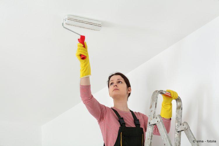 Frau auf Leiter streicht Decke